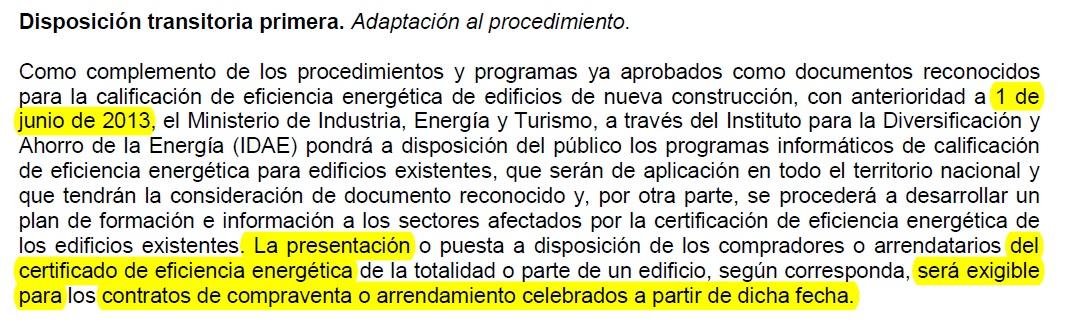 Certificado energetico, Obligatorio a partir del 1 de Junio